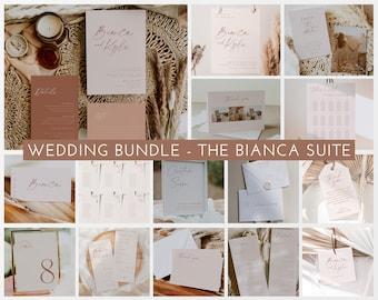 Wedding Invitation Set Bundle, Minimalist Wedding Invitation Template, Wedding Suite Printable Wedding Invitation, Editable Wedding, Bianca