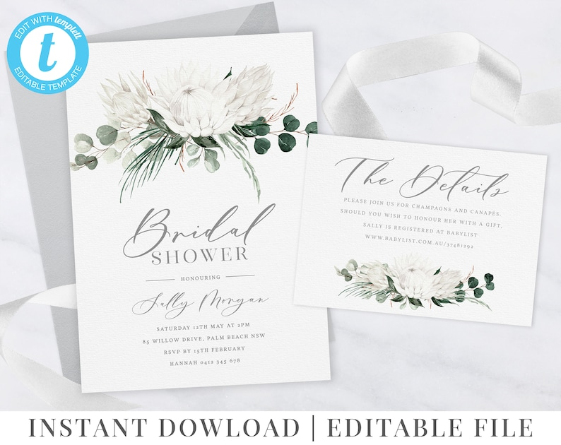Details Eucalyptus Flowers White Protea Floral Invitation Printable Invitation Bridal Shower Editable Template Brunch