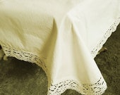 """Tablecloth country house, about 184 x 146 cm, 72 """"x57,"""" table cloth cotton, lace,"""