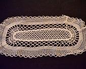 Original vintage, 3 Crochet covers 50s rose round and oval, 40 x 18 cm/25 cm Diameter,
