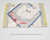 Women'S Handkerchiefs vintage, 3-set, three-tone printed, white, blue, yellow, red, cotton, Communion gift