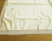 """Country house center ceiling, about 86 x 86 cm, 34ŵx34, """"tablecloth, tablecloth cream with 6 cm lace, table cloth, cotton,"""
