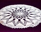 """Crochet blanket wool white round, crocheted doily, 50 cm diameter, 20"""" diameter,"""