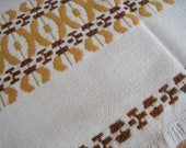 """woven table runner cream white with brown and golden yellow, 70s, 90 cm x 40 cm, 34"""" x 16"""", vintage,"""