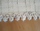 """Table runner in cream with board, 70s, 90 cm x 34 cm, 36"""" x 14"""", vintage"""