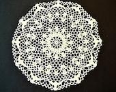 "Vintage, white round crocheted doily, handmade, 45 cm diameter, 17.5"""