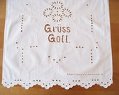 "Altar cloth, curtain, shabby curtain, ca.44.5x20.8"", 113 x 53 cm, vintage white overtowel, hole embroidery, towel holder, Art Nouveau,"