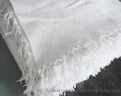 """vintage white day blanket with fringe, approx. 140 x 204 cm, approx. 80x55"""", overlay, sofa blanket with waffle pattern, 19th century,"""