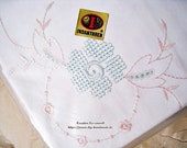 """new, pillowcase with buttons from 1960, 80 x 80 cm, 31.5x31.5"""", steering quality, vintage, pure cotton,"""