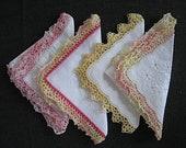 """Hand-bunkted cloth handkerchiefs, 28 x 28 cm, 11x112, """"women's handkerchiefs 60s,"""