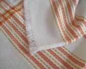 "70s Tablecloth woven white orange, 120 cm x 160 cm, 47 ""x 6,"" vintage,"