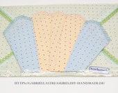 Children'S Handkerchiefs vintage, 3 set, tricolour green pink blue, printed, dots, Communion gift