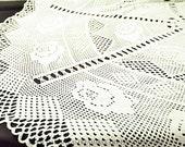 "hand crocheted, handmade, round crocheted tablecloth 180 cm diameter, 70.8"", vintage,"