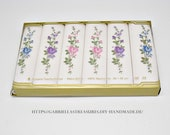 Women's handkerchiefs vintage, 6-set, tricolour embroidered, rose branches and buds, maco-batist, blue, purple, pink,