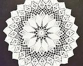 "Vintage, wool white round crocheted doily handmade, 40 cm diameter, 15.5"" diameter,"