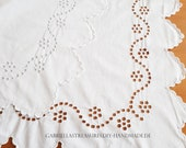 """White shabby Cotton Cloth embroidered 186 x 78 cm, 74ŵx31, """"Hole Embroidery,"""