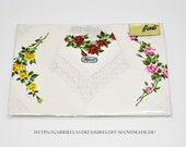 Vintage Fabric Handkerchiefs, Ladies fabric Handkerchiefs white, 3 set, vintage, MACO, TOP Floor, COMMUNION gift