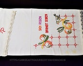 """Handmade handscarf 5 cm lace, 123 x 53 cm, 48. """" x2, """"country house motif, style embroidery,"""
