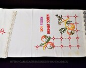 """hand-embroidered towel, 5 cm lace, 123 x 53 cm, 48."""" x2"""", country house motif, style stitch embroidery,"""