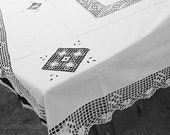 """Tablecloth Richelieu embroidery with lace 170 cm x 130 cm, 66""""x51"""", vintage, white tablecloth"""