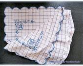 unique, pillowcase from 1930, 90 x 74 cm, blue white checkered, vintage,