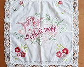 """Doily vintage hand embroidered 50s, 32 x 32 cm 12.5x12.5"""", 3 cm lace,"""