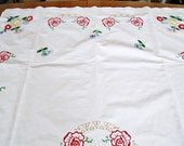 """handembroidered tablecloth c. 1960 170 cm x 110 cm, 67""""x43"""" embroidered with flowers, embroidery by hand, , cotton, hand-lined,"""