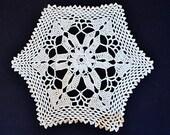 "Vintage, wool white round crocheted doily handmade, 30 cm diameter, 12"" diameter,"
