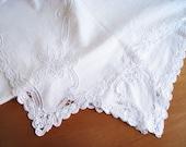 "rectangular tablecloth with Richelieu embroidery, 168 cm x 130 cm, 66""x51"", cotton,"