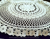 """Real Handmade-wool-white Round crocheted Tablecloth, 80 cm Diameter, 31.5, """"shabby, crocheted cover, vintage,"""