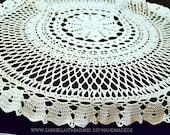 "Genuine handmade - wool white round crocheted tablecloth, 80 cm diameter, 31.5"", shabby, crocheted doily, vintage,"