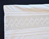 "Shabby pillowcase 79 x 71 cm 31x27.5, ""hand-crocheted cotton tip, pillow white, monogram MZ, baptismy cushion"