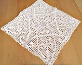 "hand crocheted, handmade white crocheted cotton doily, 45 cm x45 cm, 17.5"" x 17.5"", vintage, handmade, shabby,"