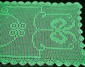"""Green Crochet table runner made of Cotton, 120 cm x 40 cm, 47 """"x 15.5,"""" Handmade, vintage Crochet covers,"""