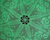 "hand crochet, vintage, crochet tablecloth 60 cm, round green crochet blanket, diameter 23.5"", handmade,"