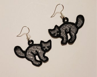 Halloween Earrings, Pumpkin, Ghost, Black Cat, Skull, Lace, Filagree, Embroidered, Sterling Silver, Polyester, Nickel Free, Lead Free