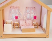 Pink wooden doll house with furniture Dollhouse kit Wooden Eco toy Fairy house Minimalist nursery decor 2nd birthday girl gift