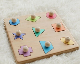 Geometric shape wooden puzzle with handles / Montessori  educational puzzle / Sorter toy / Easter gift for kids Name puzzle
