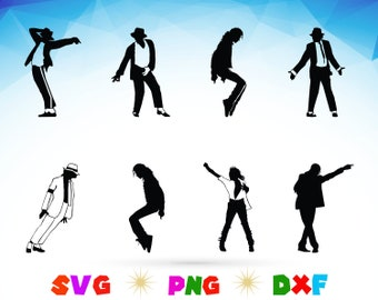 Michael Jackson Svgpngdxf Clipartvector Instant Download Cut File
