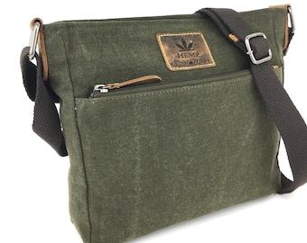 Shoulder Bag unisex Hemp Leather olive brown used look