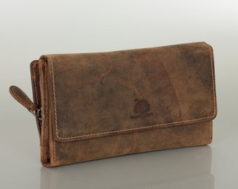 Big Leather Wallet for Women RFID Protection with sepate coin compartment in Vintage-Style saddle brown