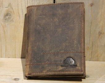 Leather Wallet Men Purse Natural Leather Vintage Style dark brown used look