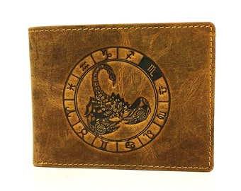 Leather Wallet used look unisex Stamping sign of the zodiac Scorpio in vintage style saddle brown used look