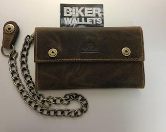 Leather biker wallet men wallet with chain vintage design brown