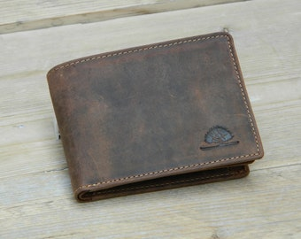 Men's wallet RFID Leather Wallet in Vintage Design horizontal format brown used look