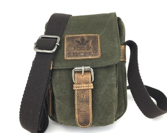 Small Shoulder Bag unisex in Portrait format environmentally friendly Hemp Leather olive brown used look