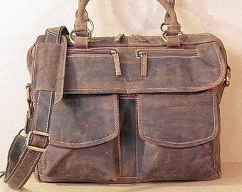 Leather Shoulder Bag Business Bag for Ladies Vintage Design saddlebrown used look