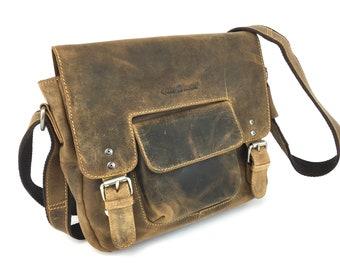 Leather Shoulder Bag Messenger Bag unisex in Vintage Style detachable belt pouch saddle brown used look