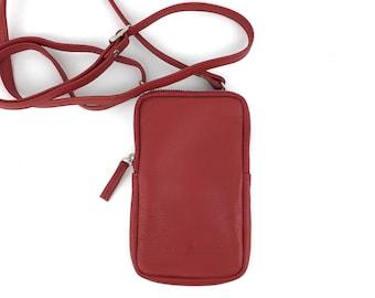 Leather Smartphone Bag Shoulder Bag red