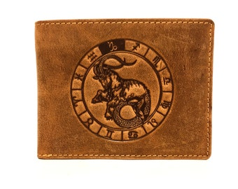 Leather Wallet used look unisex Stamping sign of the zodiac Capricorn in vintage style saddle brown used look
